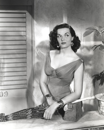 Jane Russell Posed in Velvet V-Neck Strap Dress and Metal Bracelet on Both Hands Photo by  Movie Star News