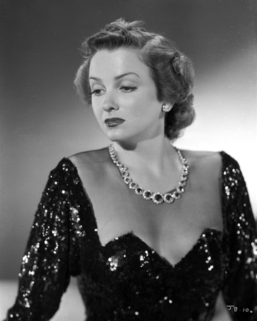 Jean Brooks Portrait in Black Sequin Dress with Sheer Top and Gem Necklace Photo by  Movie Star News