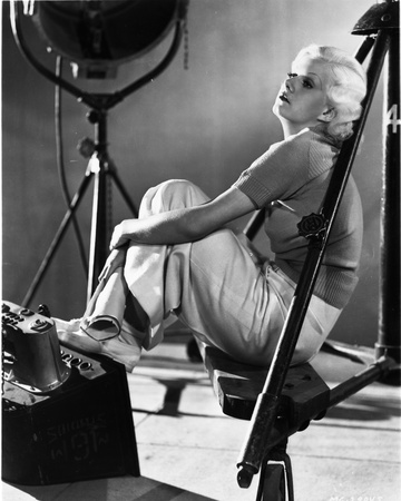 Jean Harlow Seated Knees Bent in Black Shirt and White Skirt Photo by  Movie Star News