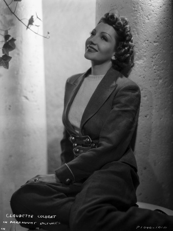 Claudette Colbert sitting Pose in Coat Classic Portrait Photo by ER Richee