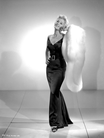 Kim Novak Posed in Black Gown Black and White Portrait Photo by  Movie Star News