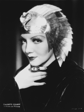 Claudette Colbert in Black with Egyptian Headdress Classic Portrait Photo by  Movie Star News