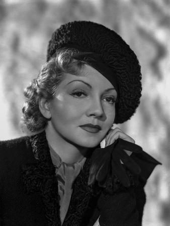 Claudette Colbert Posed in Black Suit with Head Leaning on Hand Photo by  Movie Star News