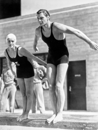 Johnny Weissmuller wearing Swimsuit in Black and White Photo by  Movie Star News