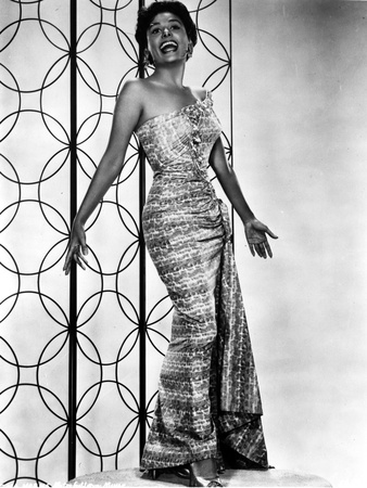 Lena Horne in Long Dress with Black and White Portrait Photo by  Movie Star News