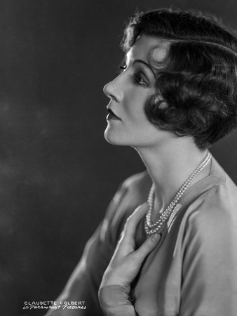 Claudette Colbert Posed Side View in White Shirt with Necklace Photo by  Movie Star News