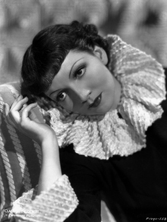 Claudette Colbert Looking Away in Black Dress Portrait Photo by  Walling
