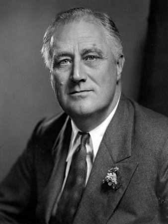Franklin Roosevelt with Expressionless Face in Suit Photo by  Movie Star News