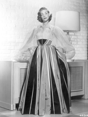Lauren Bacall wearing Long Gown in Black and White Photo by  Movie Star News
