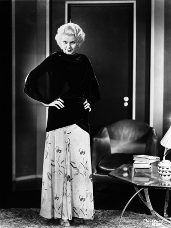Jean Harlow Posed in Black Dress and White Skirt Photo by  Movie Star News
