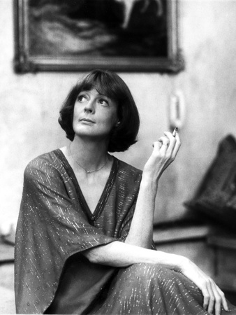 Maggie Smith Looking Up in Fancy Dress with Cigar Photo by  Movie Star News