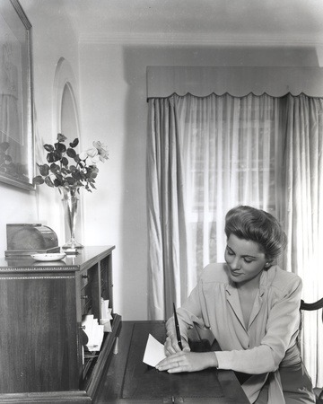 Joan Fontaine Lady Writing a Letter on the Table Photo by  Movie Star News