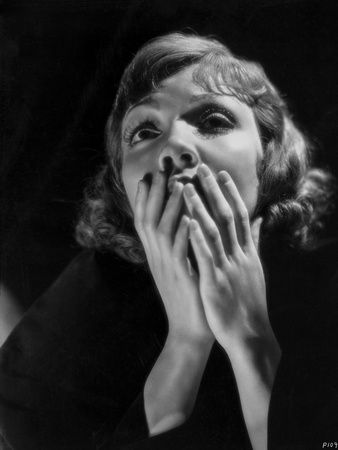 Claudette Colbert in Black with Black Background Photo by  Movie Star News