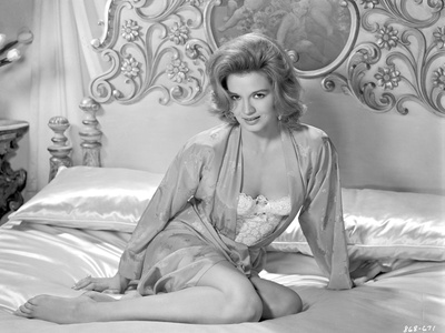 Angie Dickinson sitting in Bed Black and White Photo by  Movie Star News