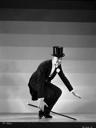 Fred Astaire Dancing in Top Hat Black and White Portrait Photo by E Bachrach