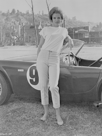 Angie Dickinson Leaning on Car Black and White Photo by  Movie Star News