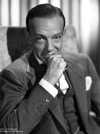 Fred Astaire Seated on Chair in Black and White Photo by ER Richee