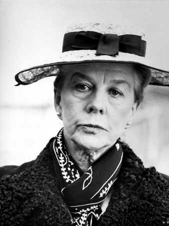 Wendy Hiller on Scarf and Hat Close Up Portrait Photo by  Movie Star News