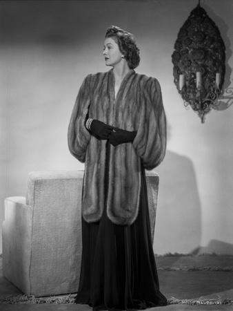 Myrna Loy Looking Away in Furry Gown Classic Photo by Gaston Longet