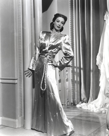 Loretta Young Shiny Silver Satin Long Dress Photo by  Movie Star News