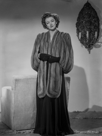 Myrna Loy standing in Furry Gown Classic Photo by Gaston Longet