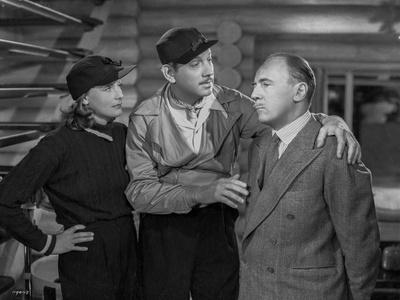 Greta Garbo with Two Men Black and White Photo by Wm Grimes