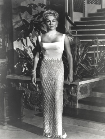 Lana Turner posed in White Long Gown Photo by  Movie Star News