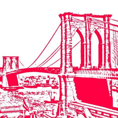 Red Brooklyn Bridge Posters by Veruca Salt