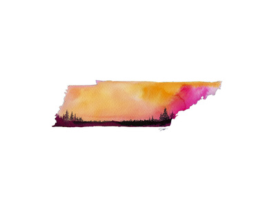 Tennessee State Watercolor Prints by Jessica Durrant