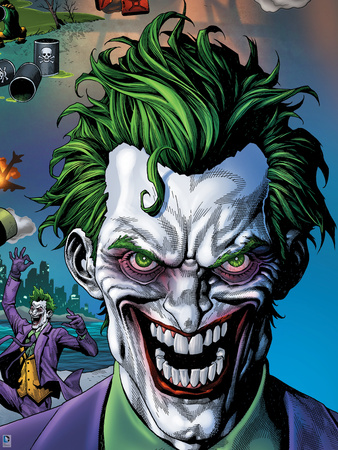 The Joker's psychotic facial expression with details of origin