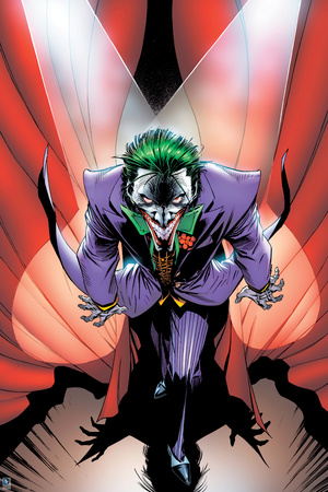 The Joker's evil green and evil eyes, appearing on-stage