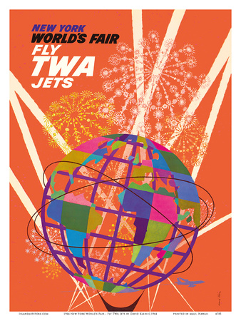 1964 New York World's Fair - Fly TWA Jets (Trans World Airlines) - Unisphere Globe Láminas por David Klein