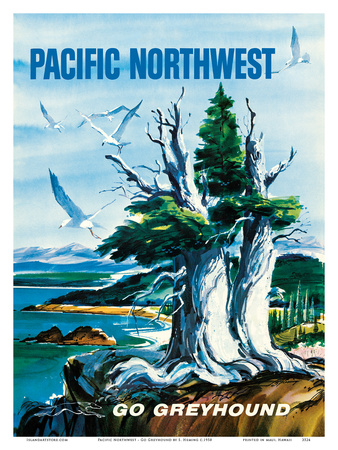 Pacific Northwest - Go Greyhound (Greyhound Bus Lines) Print by S. Heming