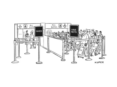 """Two lines at an airport check-in: the """"Haves"""" with no line and the """"Have N... - New Yorker Cartoo Giclee Print by Peter Kuper"""