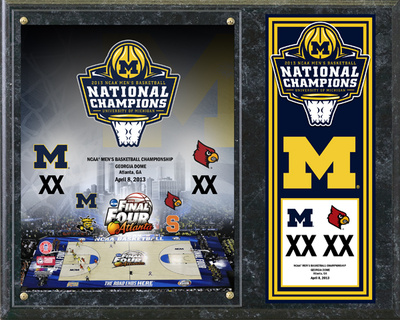 University of Michigan Wolverines 2013 NCAA Men's Basketball National Champions Composite Plaque Wall Sign