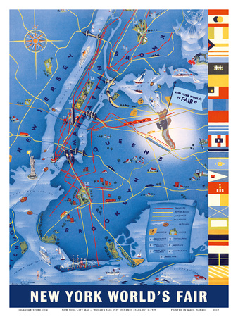 New York City Map - World's Fair 1939 Láminas por Henry Stahlhut