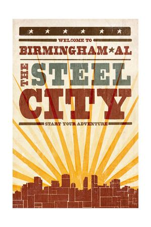 Birmingham, Alabama - Skyline and Sunburst Screenprint Style Posters by  Lantern Press