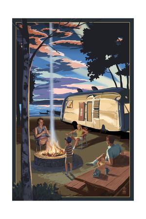 Retro Camper and Lake Prints by  Lantern Press
