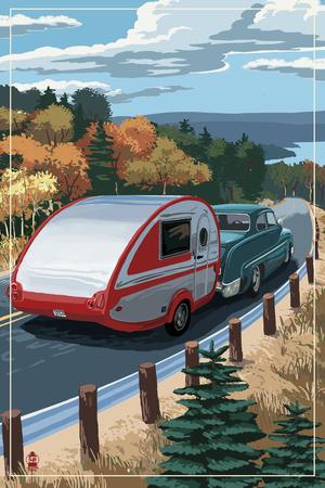 Retro Camper on Road Print by  Lantern Press