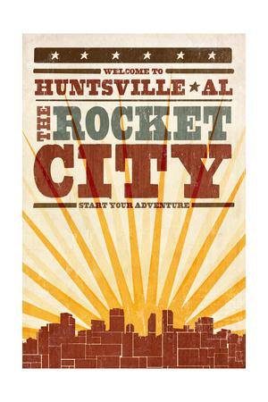 Huntsville, Alabama - Skyline and Sunburst Screenprint Style Posters by  Lantern Press