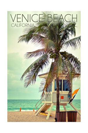 Venice Beach, California - Lifeguard Shack and Palm Prints by  Lantern Press