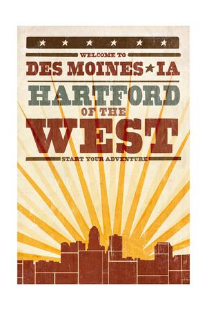Des Moines, Iowa - Skyline and Sunburst Screenprint Style Prints by  Lantern Press
