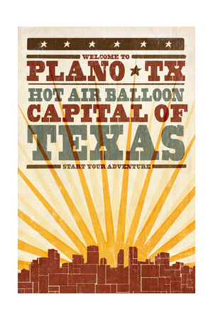 Plano, Texas - Skyline and Sunburst Screenprint Style Posters by  Lantern Press