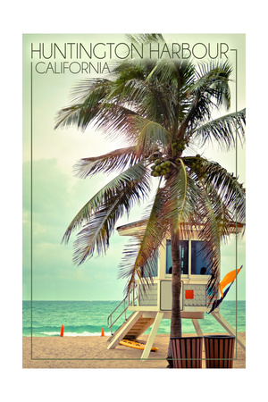 Huntington Harbour, California - Lifeguard Shack and Palm Art by  Lantern Press