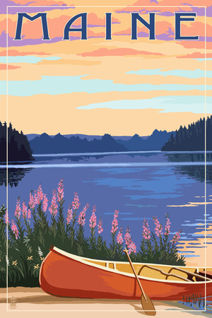 Maine - Canoe and Lake Poster von  Lantern Press