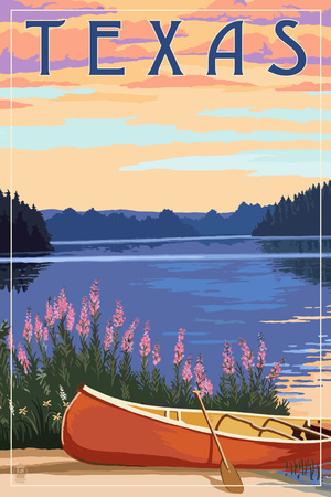 Texas - Canoe and Lake Prints by  Lantern Press