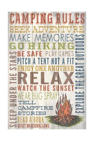 Camping Rules - Barnwood Painting Prints by  Lantern Press