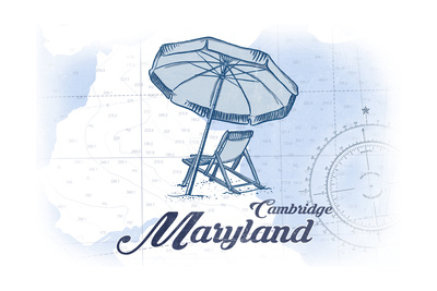 Cambridge, Maryland - Beach Chair and Umbrella - Blue - Coastal Icon Prints by  Lantern Press
