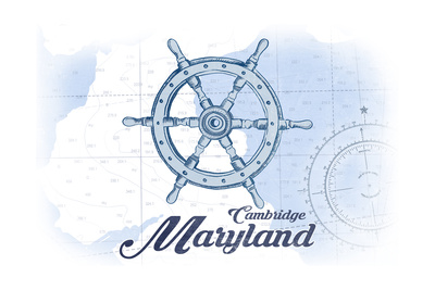 Cambridge, Maryland - Ship Wheel - Blue - Coastal Icon Prints by  Lantern Press