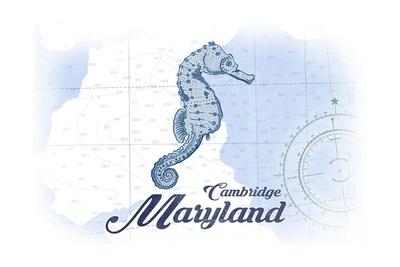 Cambridge, Maryland - Seahorse - Blue - Coastal Icon Posters by  Lantern Press